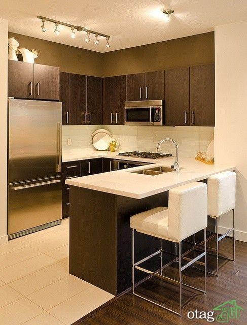 مدل کابینت قهوه ای تیره در آشپزخانه های سنتی و مدرن