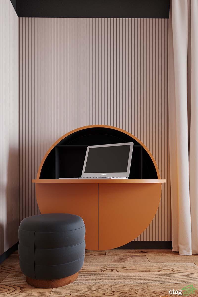 دکوراسیون نارنجی و طوسی دودی در طراحی داخلی منزل آپارتمانی