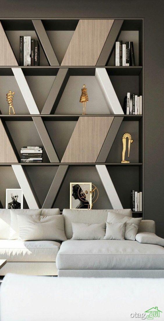 شلف دکوری پذیرایی تمام قد دیواری و تمام چوبی   35 مدل شیک
