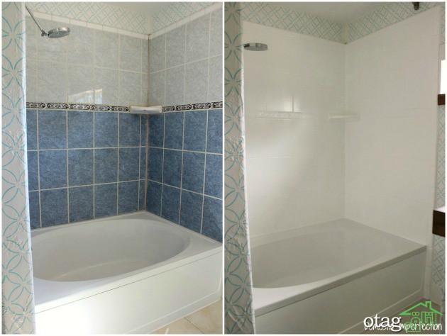 رنگ آمیزی کاشی دیوار حمام و سرویس بهداشتی + آموزش بهمراه عکس