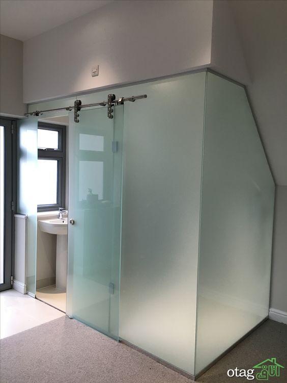 درب کشویی سرویس بهداشتی و حمام در انواع شیشه ای ساده و طرحدار