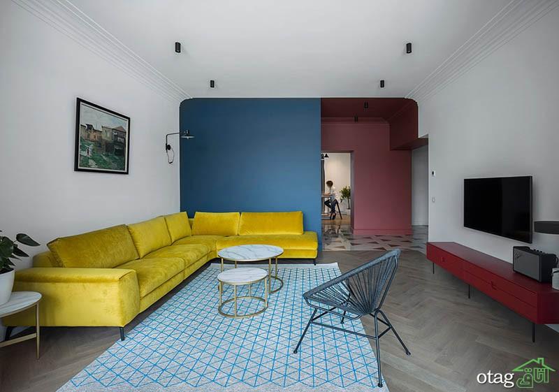 دکوراسیون آبی، زرد و قرمز ترکیبی عالی برای ایجاد فضایی خاص