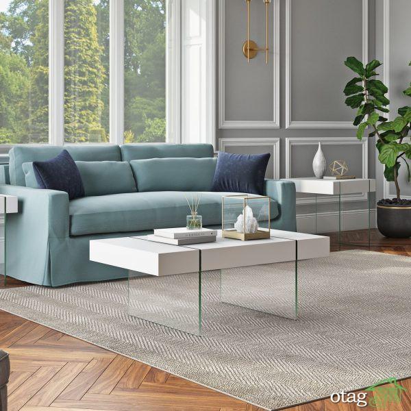 مدل میز جلو مبلی سفید برای متحول کردن اتاق نشیمن و پذیرایی