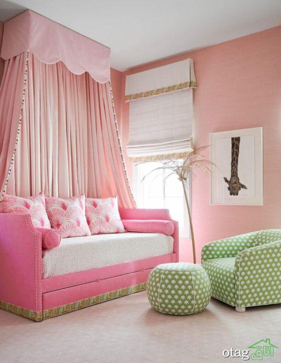 تم صورتی اتاق خواب دخترانه در مدل های جذاب 2021