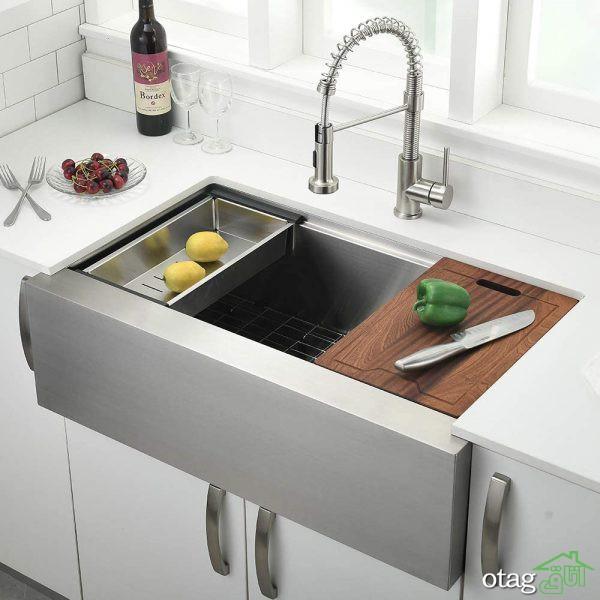 40 مدل جدید سینک ظرفشویی توکار در انواع چوبی، سرامیک و استیل