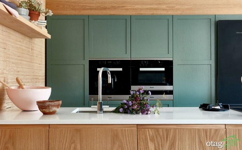 مدلهای زیبا از رنگ کابینت سبز آشپزخانه در سال جدید