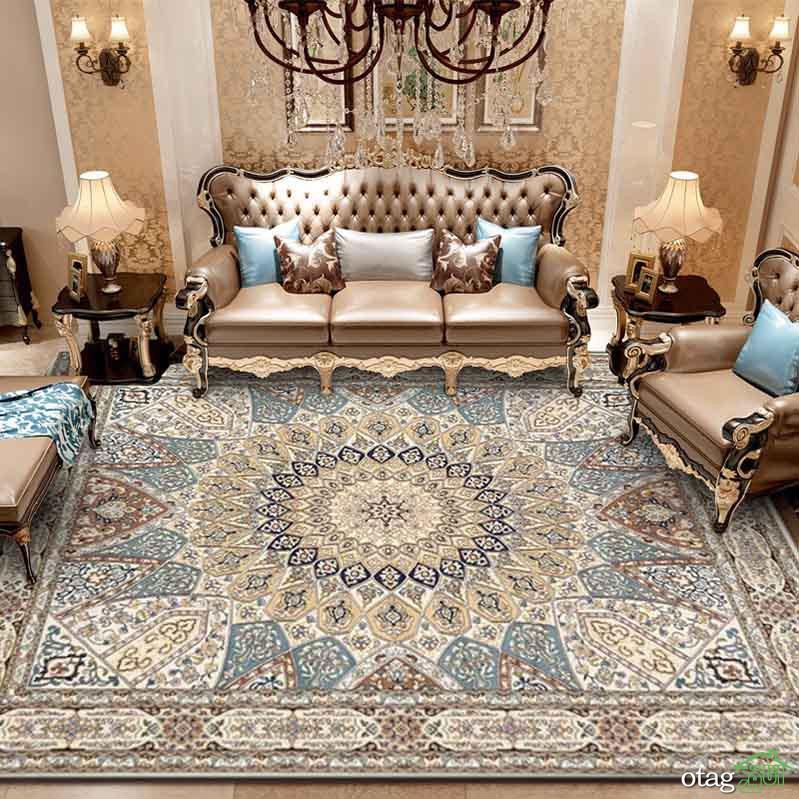 دکوراسیون منزل با فرش آبی طرح دار در هال پذیرایی و نشیمن