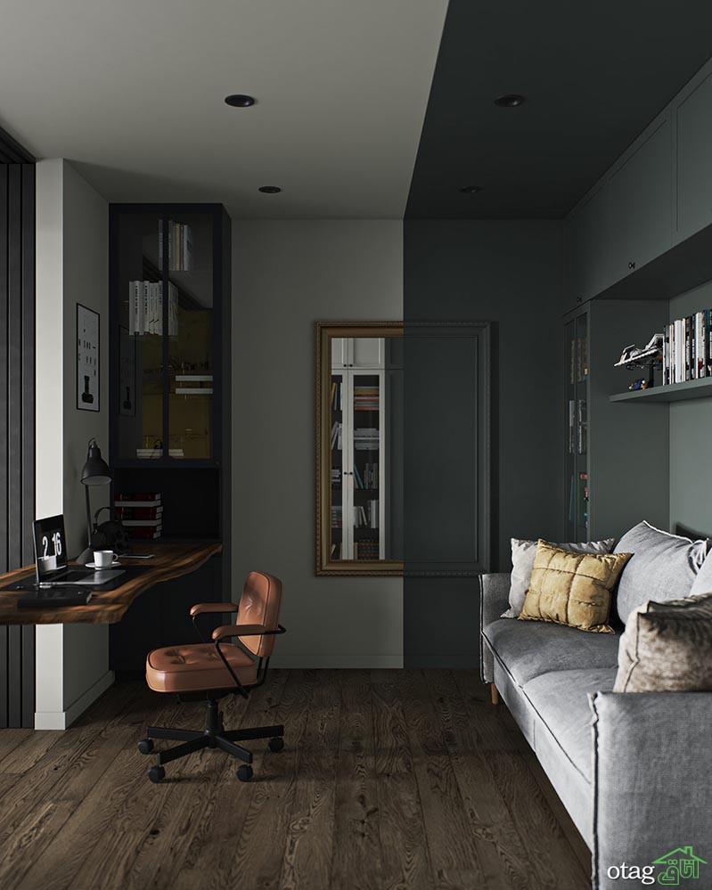 چیدمان آپارتمان به سبک دکوراسیون صنعتی با تم تیره و مردانه