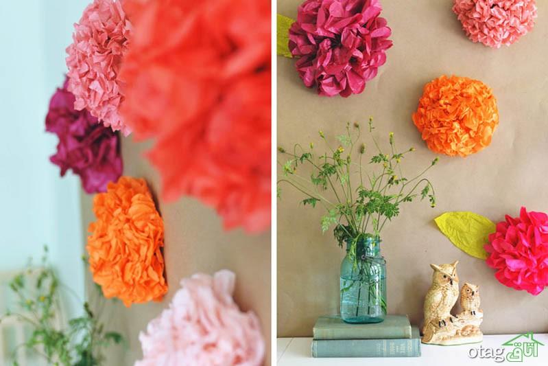 تزیین دیوار با گل مصنوعی در انواع کاغذی و پلاستیکی