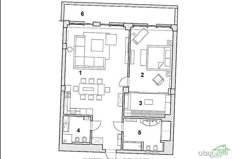 نحوه چیدمان منزل 130 متری آپارتمانی و حیاط دار به همراه پلان