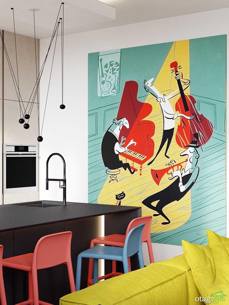 دکوراسیون شاد منزل با رنگ آمیزی هوشمندانه دیوار و کابینتها