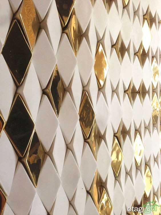 سرامیک طلایی رنگ برای دکوراسیون داخلی منزل در طرحهای لوکس