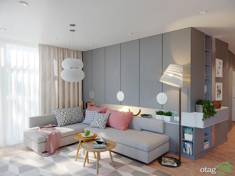 دکوراسیون خاکستری و صورتی در طراحی داخلی آپارتمان امروزی