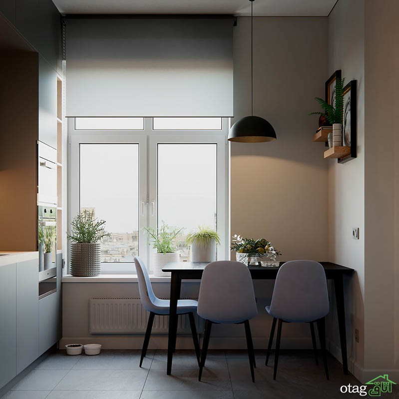 طراحی داخلی خانه 55 متری با چیدمان آبی و نارنجی بهمراه پلان