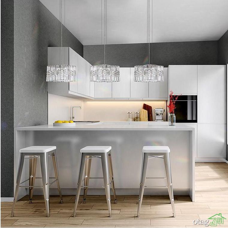 تزیین آشپزخانه با سقف کوتاه با نورپردازی و رنگ آمیزی صحیح