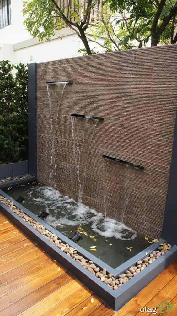 26 طرح جدید آبنمای دیواری حیاط در انواع استیل و سنگی