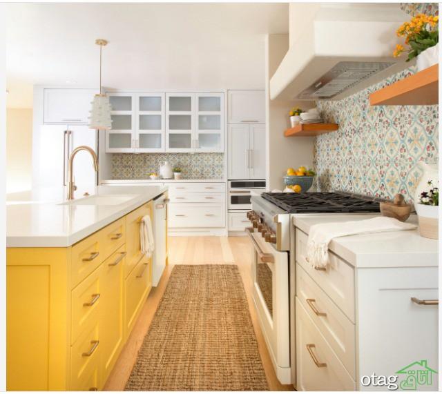 معرفی طرحهای جذاب آشپزخانه زرد و سفید برای منازل امروزی
