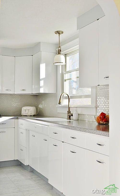 30 طرح جدید کابینت سفید متالیک برای آشپزخانههای امروزی