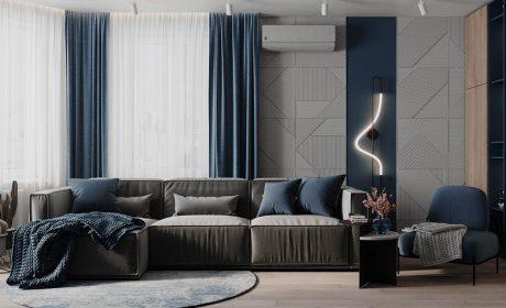 نحوه ترکیب رنگ آبی و طوسی در دکوراسیون داخلی خانه بهمراه عکس