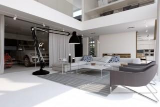 طراحی داخلی و خارجی منزل لوکس و شیک برای عاشقان ماشین
