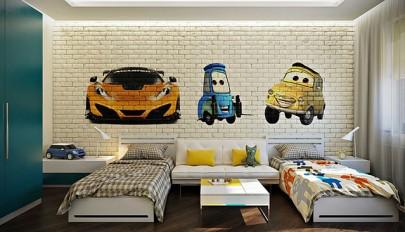 تزیین دکوراسیون اتاق کودک با دیوار آجری و رنگ های شاد
