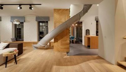 معماری داخلی آپارتمان دوبلکس با ویژگی خلاقانه مناسب خردسالان