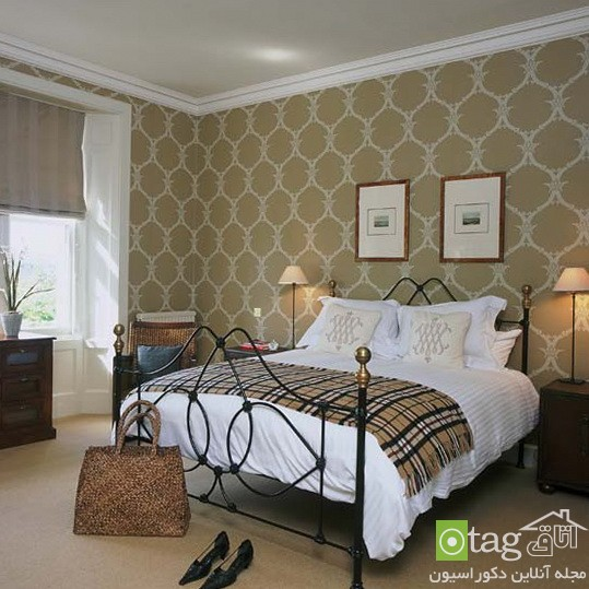 Bedroom-with-patterned-wallpaper-designs