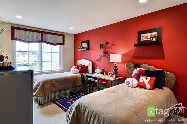 Cheerful-and-chic-kids-room-with-red-accent (13)