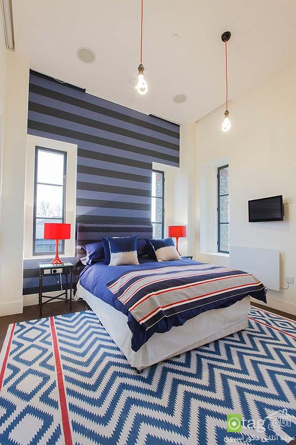 Contemporary-bedroom-designs-with-striped-accent-wall (12)