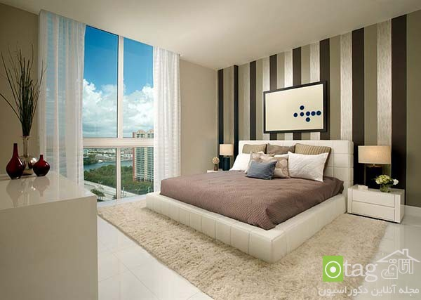 Contemporary-bedroom-designs-with-striped-accent-wall (2)