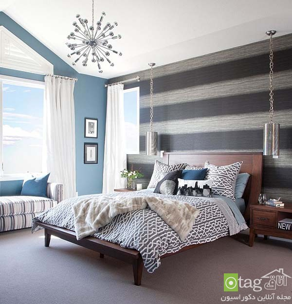 Contemporary-bedroom-designs-with-striped-accent-wall (4)