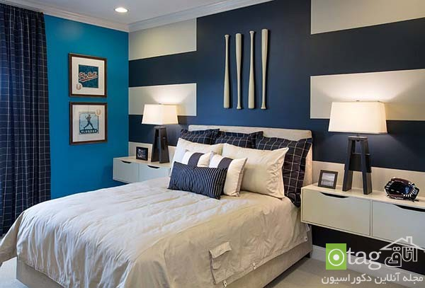 Contemporary-bedroom-designs-with-striped-accent-wall (8)