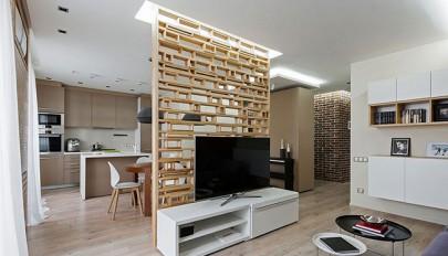 مدل پارتیشن چوبی برای دکوراسیون داخلی آپارتمان مسکونی کوچک