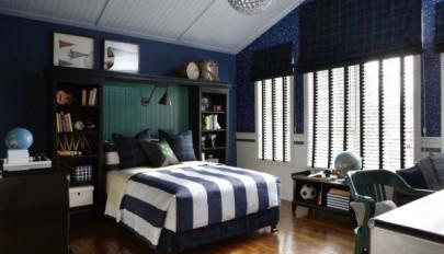 مدل اتاق خواب پسرانه با تم رنگی سرد و خنک مناسب نوجوانان