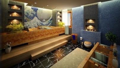 مدل حمام های لوکس و بزرگ با دکوراسیونی رنگارنگ و شاد