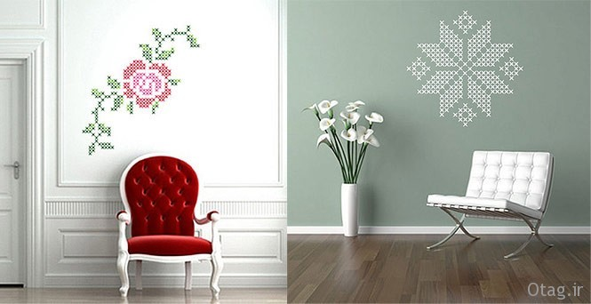 Wall-stickers-graphic-rose-and-snowflake