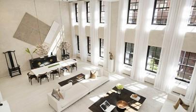طراحی داخلی آپارتمان با سقف بلند و چیدمان لوکس / 1395