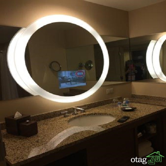 38 مدل مدرن و جدید سرویس آینه توالت و دستشویی با نورپردازی مخفی [لوکس]