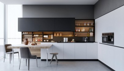کابینت سفید و سیاه چوبی در دکوراسیون آشپزخانه های امروزی