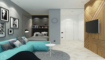 تم آبی در خانه با چیدمانی کمپکت مناسب فضاهای کوچک