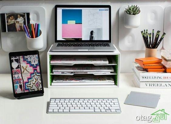 نحوه چیدمان صحیح میز کار+ 33 عکس بسیار شیک و زیبا لوازم اداری رومیزی