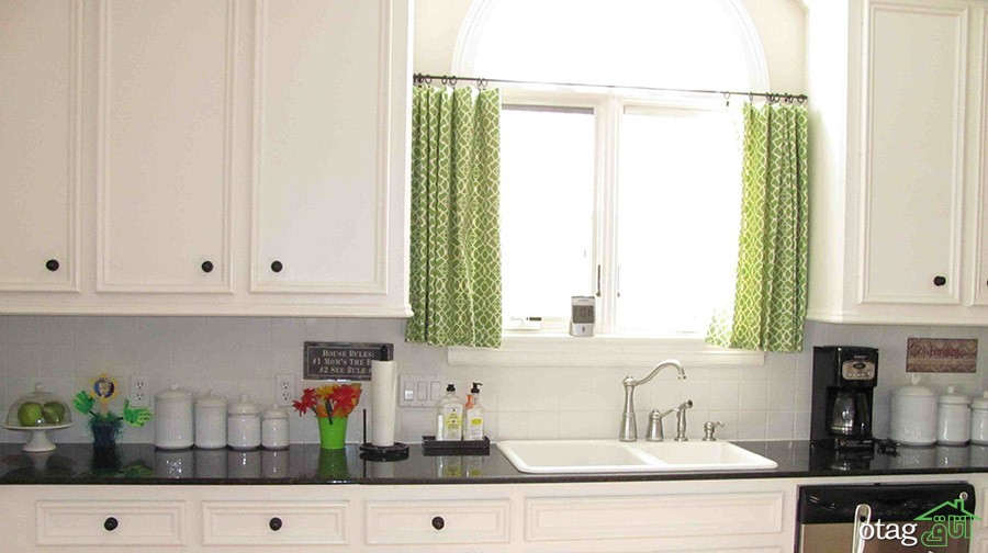 comely-white-kitchen-combined-with-black-granite-countertop-set-under-short-green-plaid-jcpenney-curtains