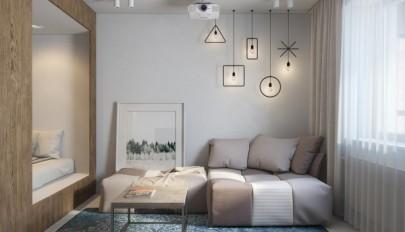 دکوراسیون و چیدمان آپارتمان 30 متری با تم رنگی روشن و تیره