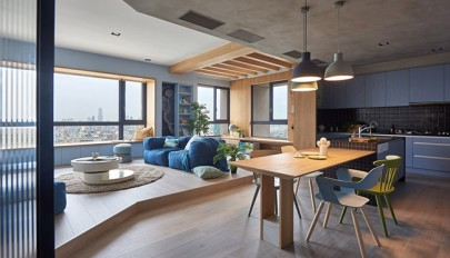 تزیین و چیدمان آپارتمان مدرن با رنگ های شاد و جذاب