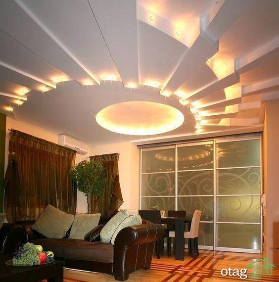 38 مدل گچ کاری سقف اتاق پذیرایی بسیار زیبا و بی نظیر