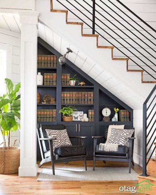 25 مدل جدید قفسه و کتابخانه و کمد دیواری زیر پله [شیک و منحصر بفرد]