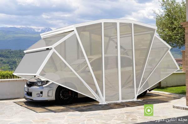 ۲۴ مدل سایبان ماشین و پارکینک متحرک سرپوشیده برای حیاط