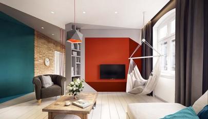 دکوراسیون فوق العاده شیک آپارتمان با استفاده از اشکال هندسی