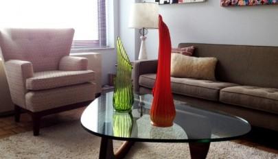 مدل های جدید میز جلو مبلی شیشه ای زیبا و مدرن در اتاق نشیمن