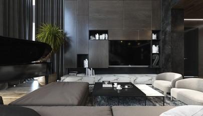 طراحی داخلی آپارتمان مدرن با تم رنگی تیره در سال 2015
